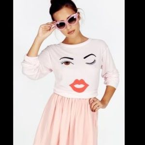 wildfox rosy cheeks wink pullover pink